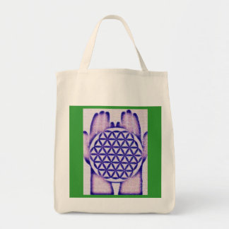 Healing Hands Holding Flower of Life. Grocery Tote Bag