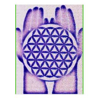 Healing Hands Holding Flower of Life. Postcard
