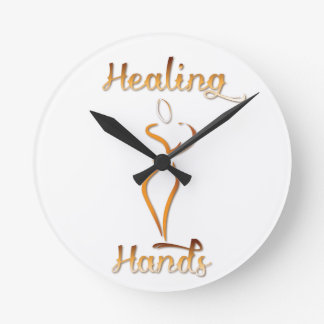 Healing Hands Massage Products Round Wall Clocks