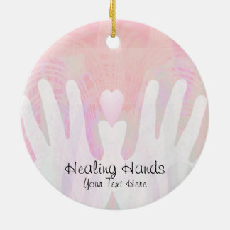 Healing Hands Pink Ceramic Ornament