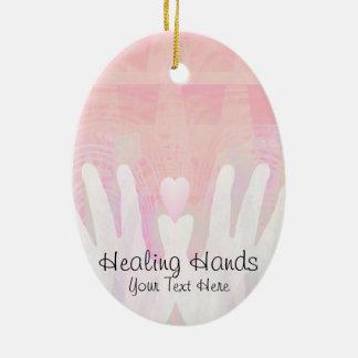 Healing Hands Pink Ceramic Ornament