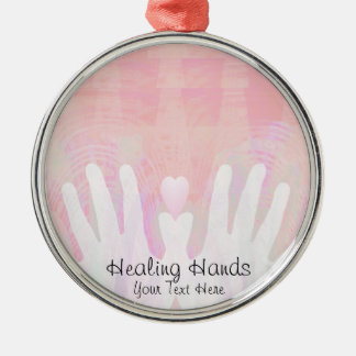 Healing Hands Pink Metal Ornament