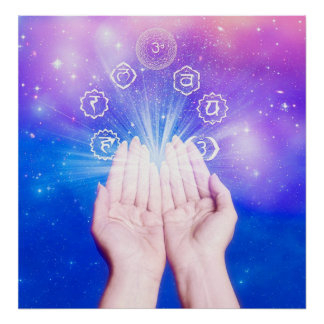 Healing hands seven chakras symbol blue background poster