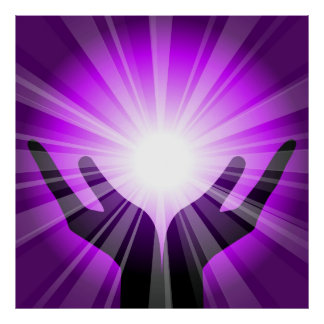 Healing hands with purple energy by healinglove poster