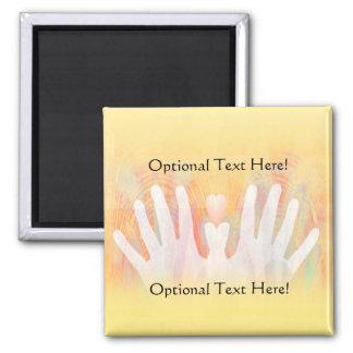 Healing Hands Yellow Orange Light Magnet