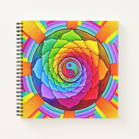 Healing Lotus Mandala Square Spiral Notebook
