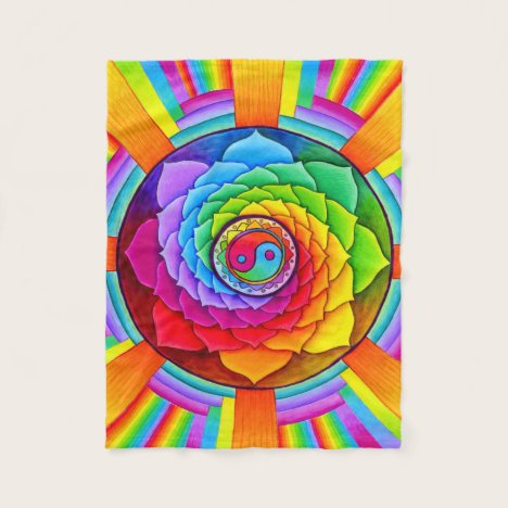 Healing Lotus Rainbow Mandala Fleece Blanket