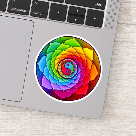Healing Lotus Rainbow Mandala Vinyl Sticker