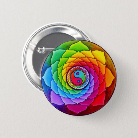 Healing Lotus Rainbow Yin Yang Mandala Button