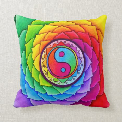 Healing Lotus Rainbow Yin Yang Mandala Pillow