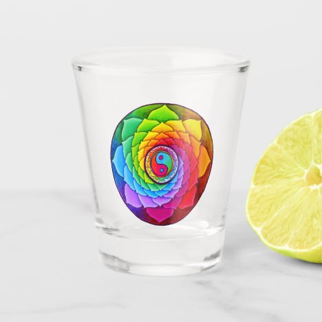 Healing Lotus Rainbow Yin Yang Mandala Shot Glass