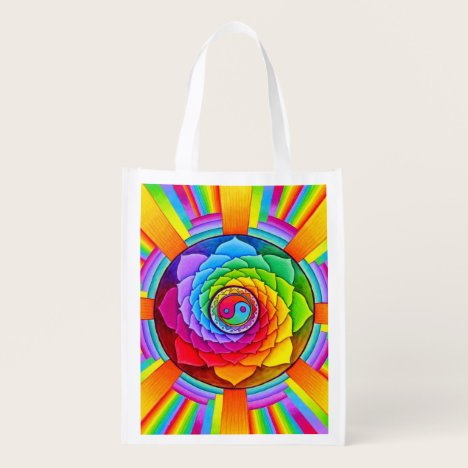 Healing Lotus Rainbow Yin Yang Reusable Bag