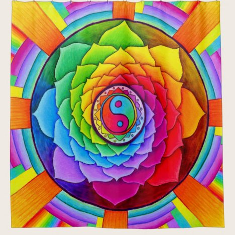 Healing Lotus Rainbow Yin Yang Shower Curtain
