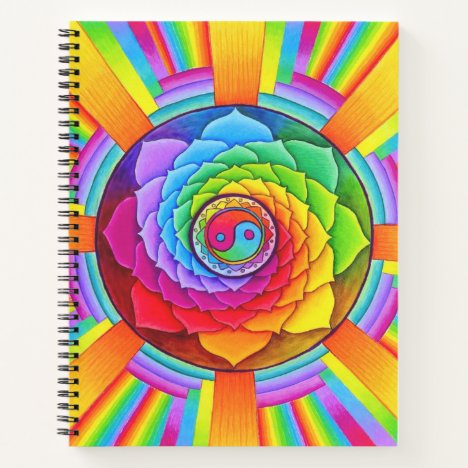 Healing Lotus Rainbow Yin Yang Spiral Notebook