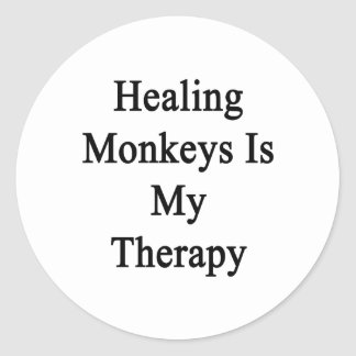 Healing Monkeys Is My Therapy Classic Round Sticker