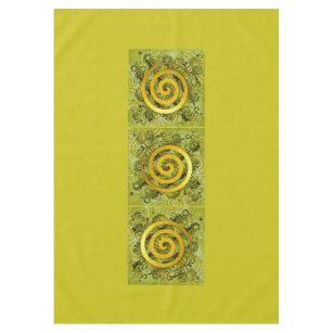 Healing Power Spiral gold green + your ideas Tablecloth