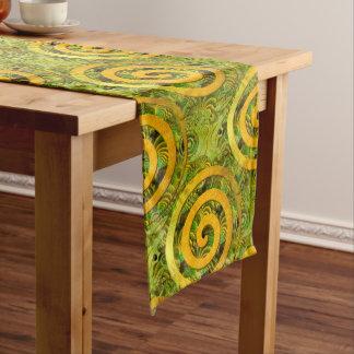 Healing Power Spirals gold green + your ideas Long Table Runner