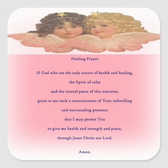 healing prayer square sticker