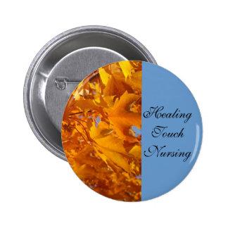 Healing Touch Nursing Blue Golden Leaves Nurse Pinback Buttons
