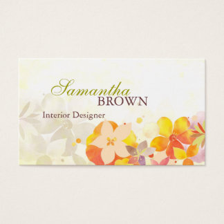 Healing Watercolor Flowers Custom Business Cards