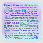 healing words art collage square sticker
