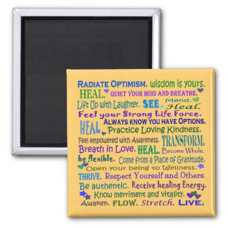 healing words collage 2 inch square magnet