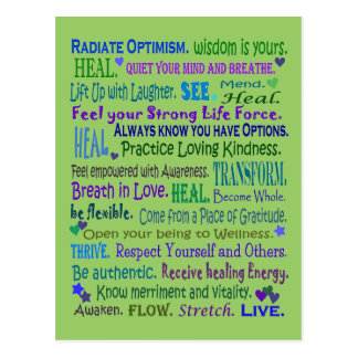 healing words collage postcard