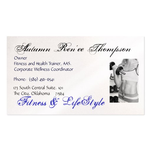 health and fitness business card