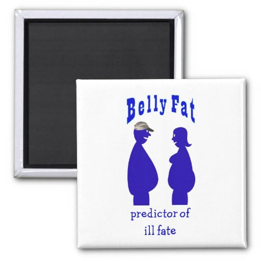 Health, belly fat 2 inch square magnet