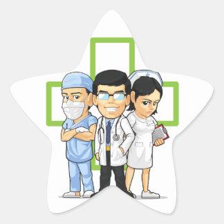 Health Care or Medical Staff - Doctor & Nurse Star Sticker