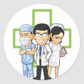 Health Care or Medical Staff - Doctor & Nurse Classic Round Sticker