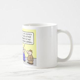 health club eating breakfast cereal mugs
