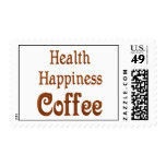 Health Happiness Coffee Postage Stamp