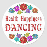 Health Happiness Dancing Round Stickers