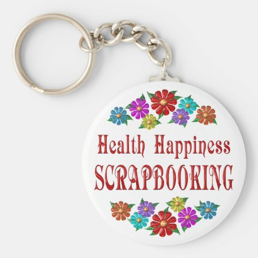 Health Happiness Scrapbooking Basic Round Button Keychain