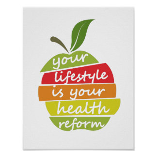 Health quote in decorated style, and apple element poster