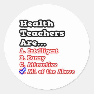 Health Teacher Quiz...Joke Round Stickers
