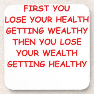health wealth beverage coaster