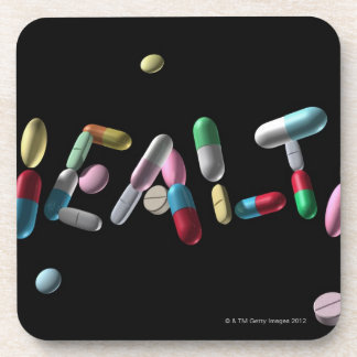 'HEALTH' written with pills Drink Coaster