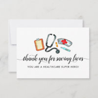 Healthcare Hero Saving Lives Stethoscope Nurse Thank You Card