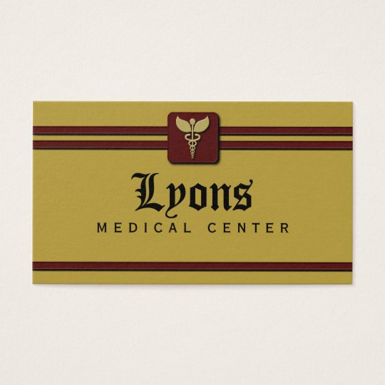 Healthcare Medical Doctor Caduceus Mustard and Red Business Card