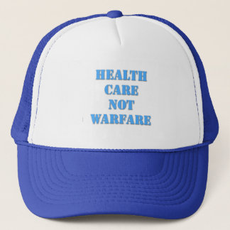 Healthcare Not Warfare Blue Trucker Hat