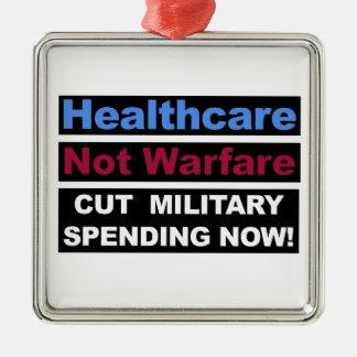 Healthcare Not Warfare Metal Ornament
