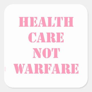 Healthcare Not Warfare Pink Square Sticker