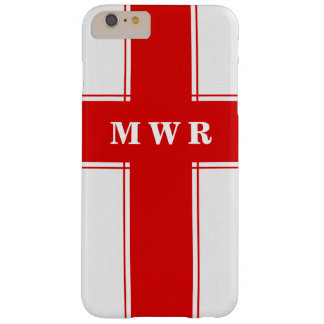 Healthcare Professional in Red and White Monogram Barely There iPhone 6 Plus Case