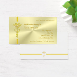 Healthcare provider with golden caduceus business card
