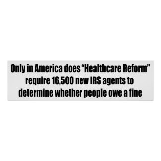 Healthcare Reform Requires 16,500 New IRS Agents Poster