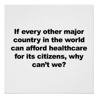 Healthcare, why can't we? Protest Sign. Poster