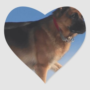 Beach Themed Healthy And Happy German Shepherd Dog Heart Sticker