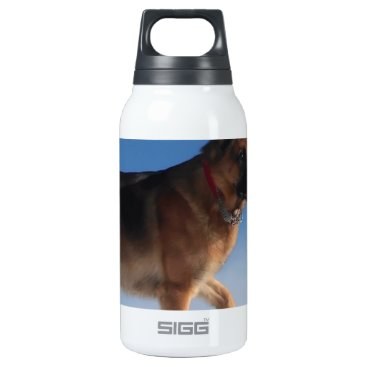 Beach Themed Healthy And Happy German Shepherd Dog Insulated Water Bottle